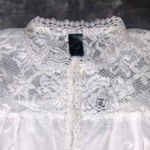 Cabernet Ivory Silk Chantilly Lace Pajama Set